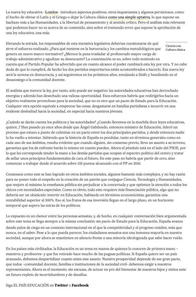 Artículo sobre la nueva ley educativa Lomloe | Por Antonio Penadés