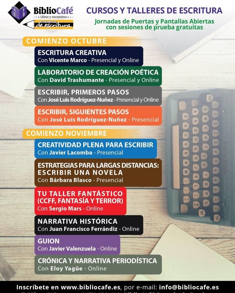Nuevos cursos y talleres de escritura   20-21 en Bibliocafé Escuela de Escritura. Evento. En Entrevisttas.com