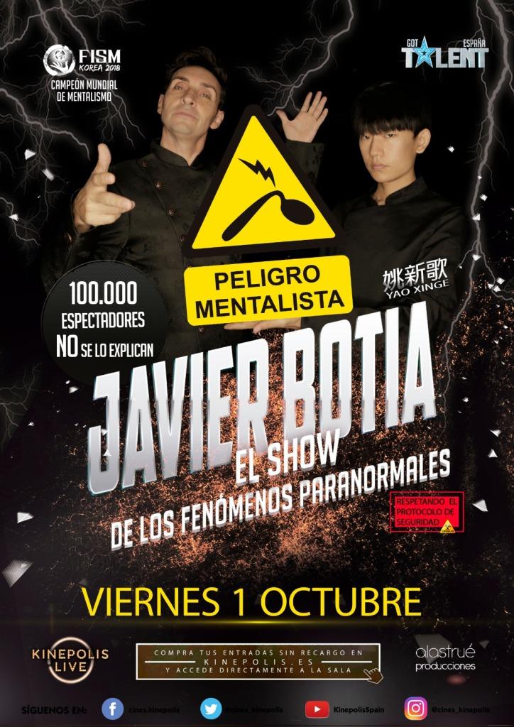 En Kinepolis Live, viernes 1 de octubre, Javier Botía con El Show de los Fenómenos Paranormales. Anuncio en Entrevisttas.com