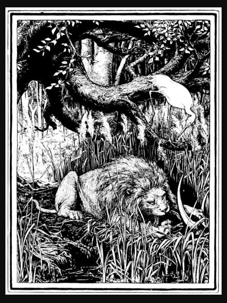 La grulla y el león | Ilustración de John D. Batten