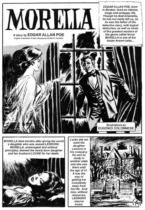 Fragmento de un cómic basado en el cuento Morella | Edgar Allan Poe