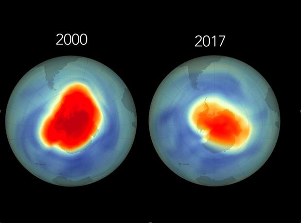 Variaciones del tamaño del agujero de ozono entre el año 2000 y el 2017